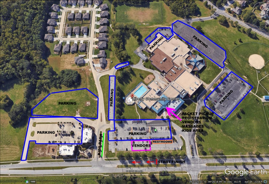 Liberty Community Center - Race-Day Parking Map